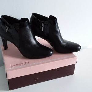 Bandolino Black Leather Booties w/ Patent Accent